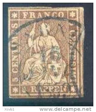 Switzerland 26, Used,  Thin   SCV$20   (025-3   Zum 22G,    Mi 13llBym - 1854-1862 Helvetia (Imperforates)