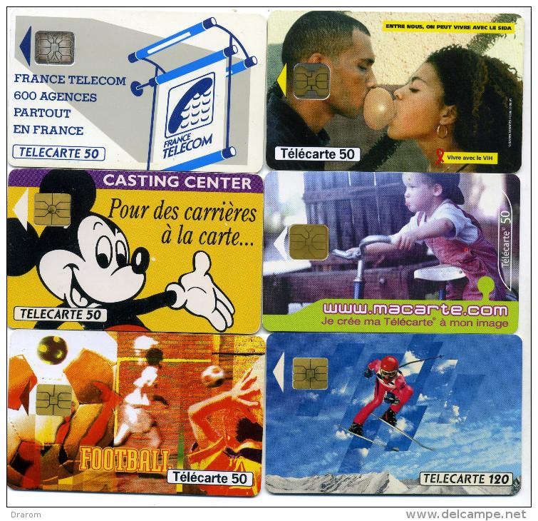 Lot 6 Télécartes Utilisées Dont 1 Vivre Avec Le Sida Exclusivite DOM  Guadeloupe (lot 2) - Télécartes
