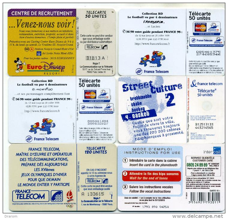 Lot 6 Télécartes Utilisées (lot 3) - Télécartes