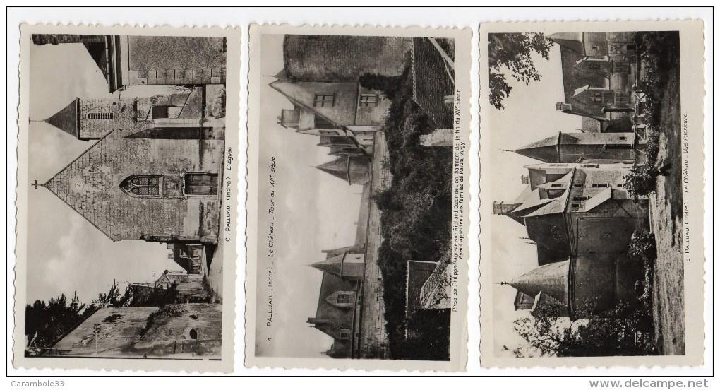 CPSM  Indre  PALLUAU  L'église  , Château Vue Intérieure , La Tour  Y8121 - France