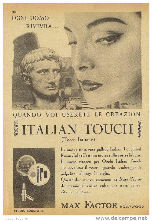 # MAX FACTOR ITALIAN TOUCH, ROUGE & MASKARA 1950s Advert Pubblicità Publicitè Reklame Lipstick Rossetto Lapiz Beautè - Unclassified