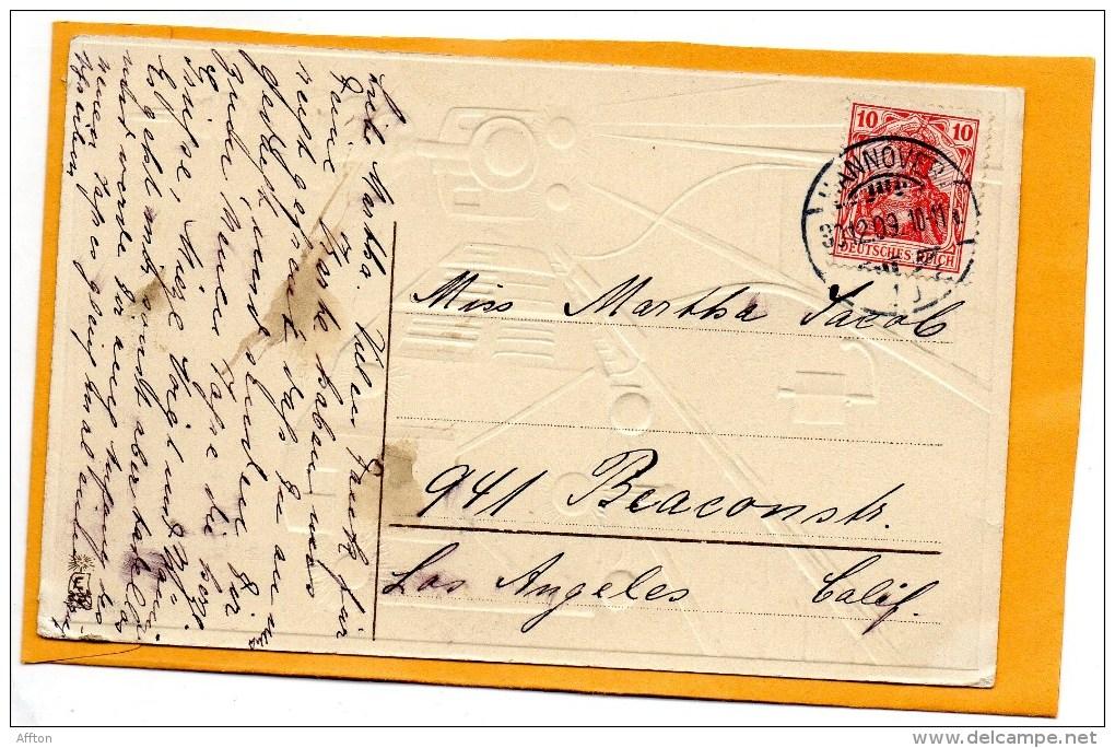 Railroad Engine New Year 1905 Postcard - Brodées