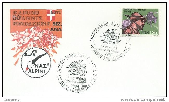 ASTI- RADUNO 50°  ANNIVERSARIO  FONDAZIONE  SEZ  A.N.A.- 1-10-1972 - Militares