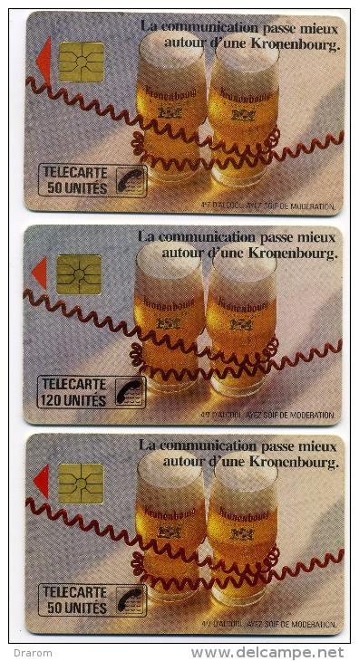 Lot 3 Télécartes Usagées Kronenbourg Dont 50 Unites Gde Flèche Gem 1A (lot 16) - Télécartes