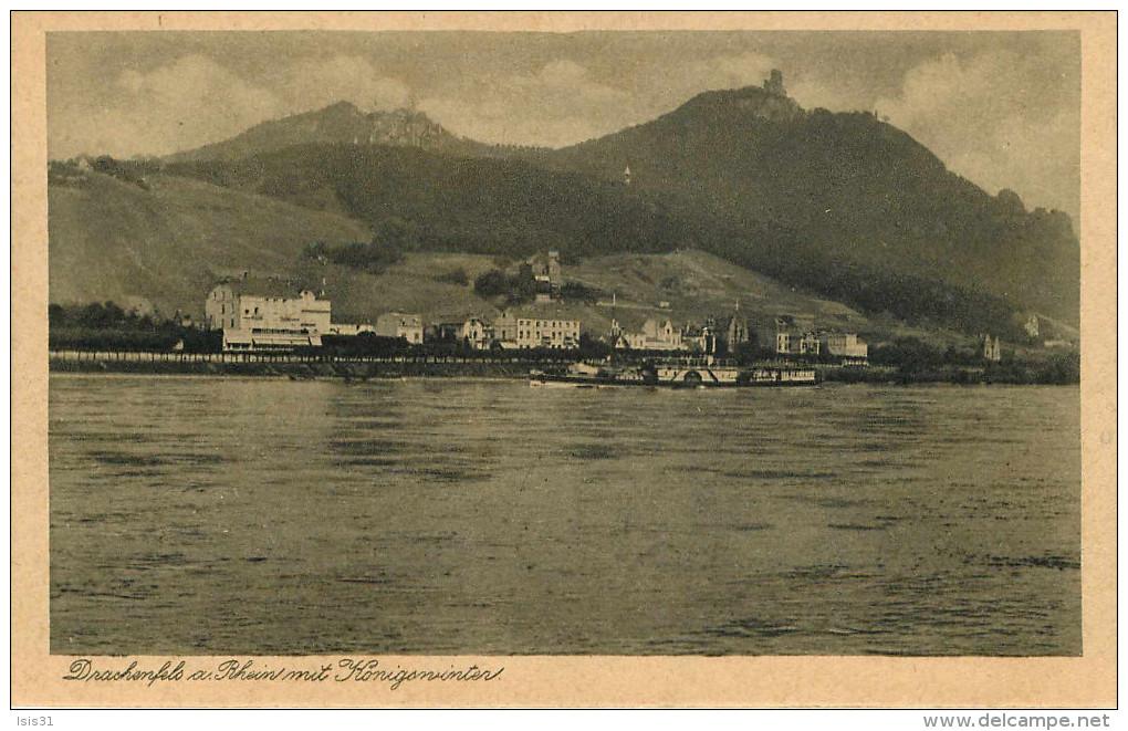 Allemagne - Rhénanie Du Nord Westphalie - Bateaux - Koenigswinter - Drachenfels A. Rhein Mit Königswinter - état - Koenigswinter