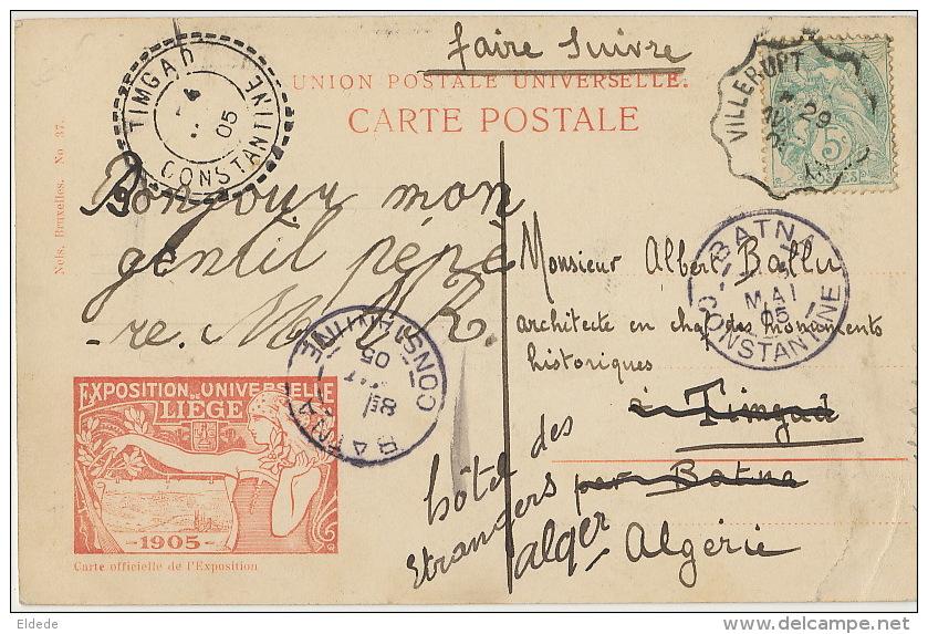 Liege Expo Universelle 1905 Pavillon Tunisie Timbrée 1905 De Villerupt A Timgad Algerie - Liege