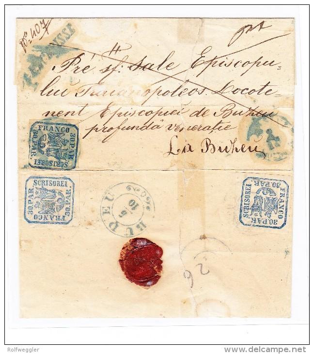Rumänien VASLUI-BUDEU Defekter R-Brief Mit  3 X 30.Par. (1 Marke Eingerissen) - 1858-1880 Moldavie & Principauté