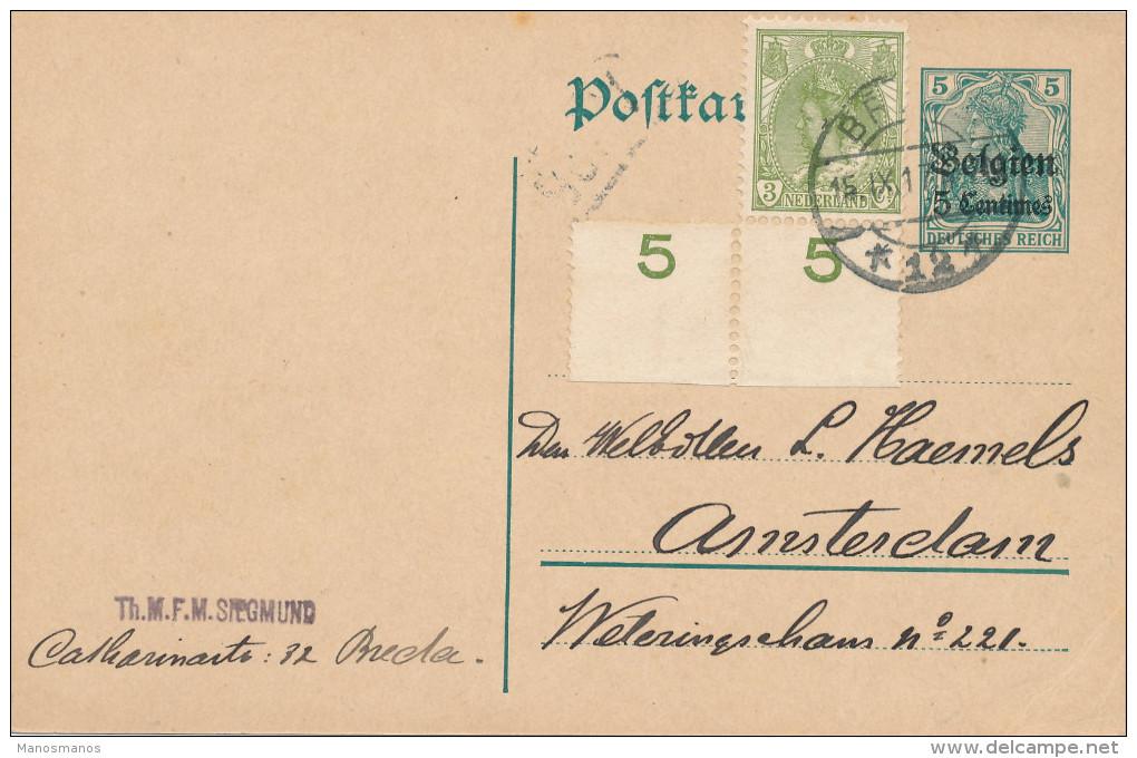 136/22 - Entier Germania Belgien + TP Wilhelmina BREDA 1917 Vers AMSTERDAM - 1891-1948 (Wilhelmine)