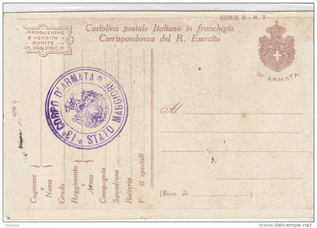 Cartolina Postale Italiana In Franchigia-Timbro 13^ Corpo D'Armata, Stato Maggiore - 1900-44 Victor Emmanuel III.