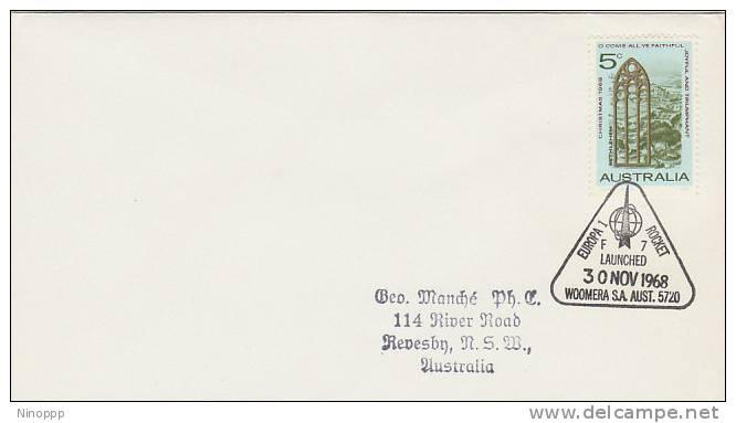 Australia-1968 Europa 1 Rocket F7 Commemorative Postmark - Covers & Documents
