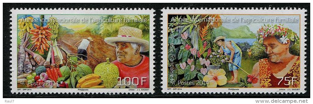 Polynésie Française 2014 - Fruits, Agriculture Familiale - 2 Val Neufs // Mnh - Polynésie Française