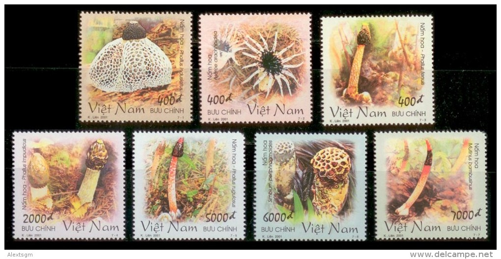 VIETNAM 2001 - Mushrooms - Mi 3150-6, Sc 3050-6, YT 1978-84 - Viêt-Nam