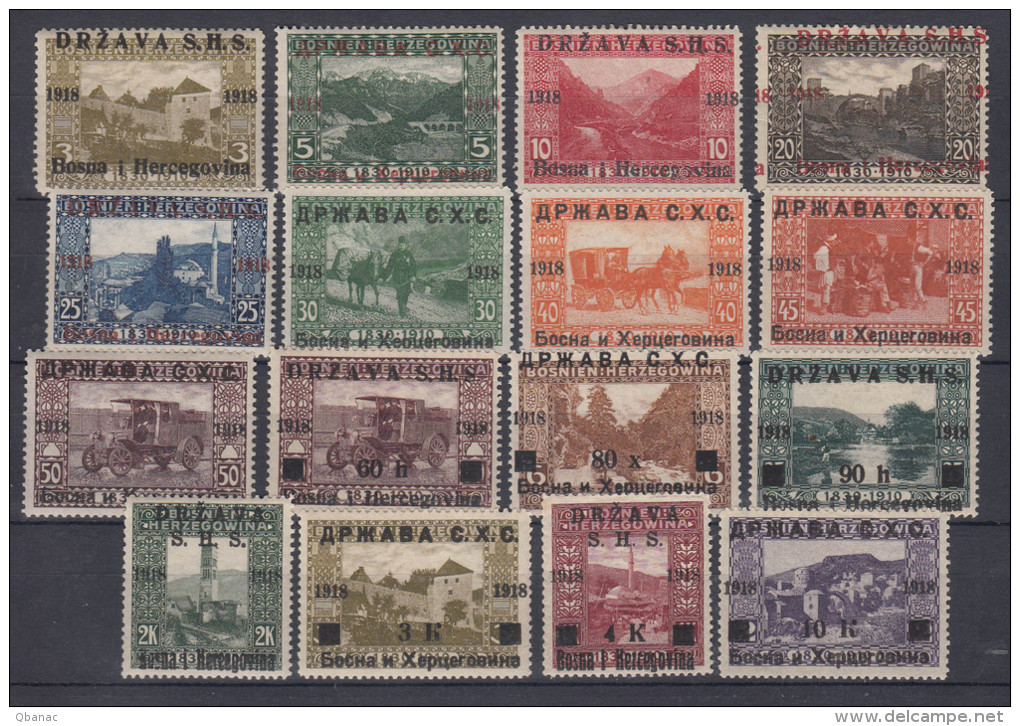 Yugoslavia, Kingdom SHS, Issues For Bosnia 1918 Mi#1-16 Mint Hinged - Nuovi