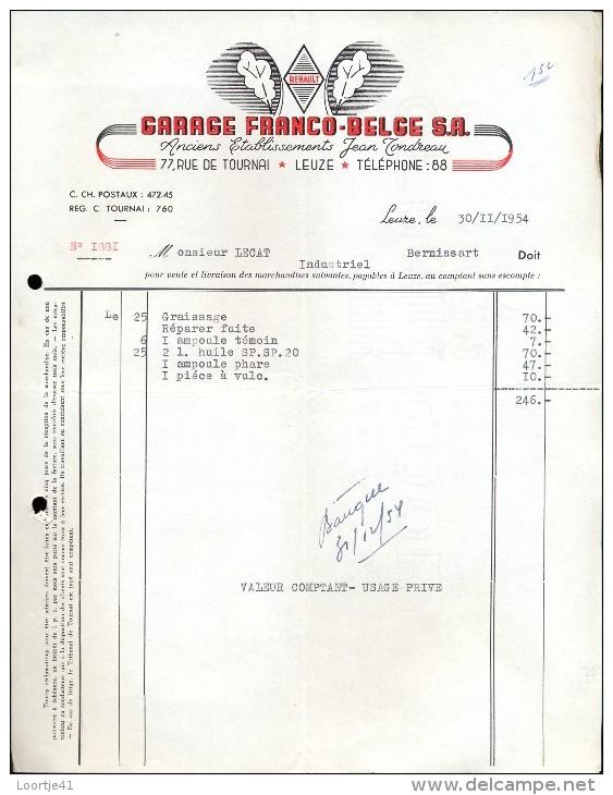 Factuur Facture Brief Lettre  - Garage Franco Belge - Leuze 1954 - Belgique