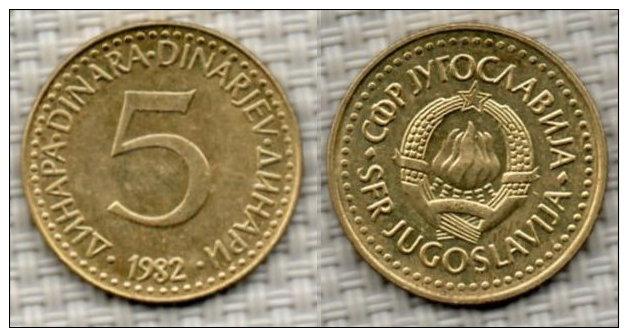 JUGOSLAWIEN 5 Dinara 1982. - Yougoslavie