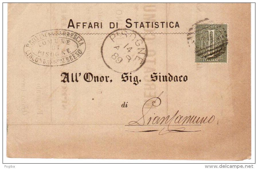 1889- PIEGO DA PISOGNE ANNULLO A SBARRE 1742 - DOCUMENTO INTERESSANTE - 1878-00 Umberto I