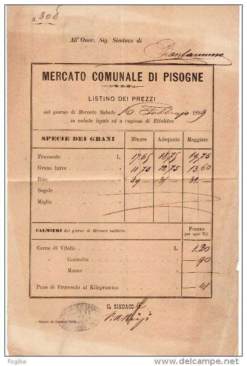 PIEGO DA PISOGNE ANNULLO A SBARRE 1742 - DOCUMENTO INTERESSANTE - 1878-00 Umberto I