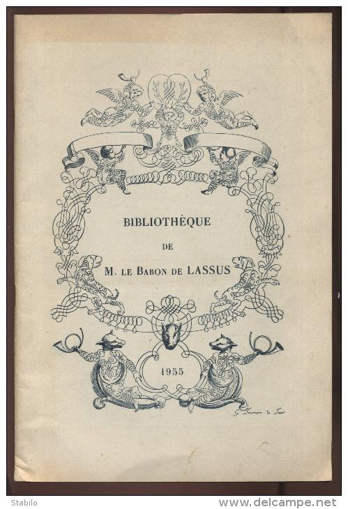 CATALOGUE DE VENTE DE LA BIBLIOTHEQUE DU BARON DE LASSUS - OUVRAGES SUR LA CHASSE - HOTEL DROUOT 1955 - Vieux Papiers