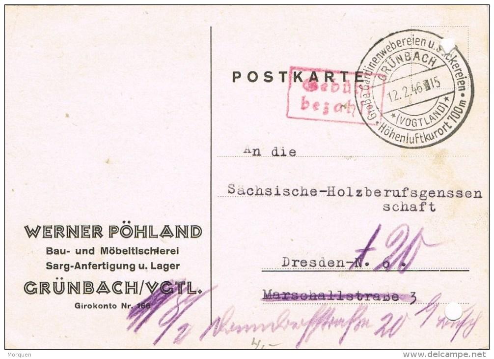 7650. Tarjeta GRUNBACH (Alemania) 1946. Gebühr Bezahlt. Port Payé - Zona Anglo-Américan
