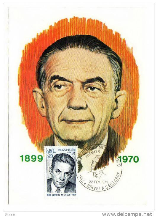 France / Maximum Cards / Famous Persons / Edmond Michelet - 1970-79