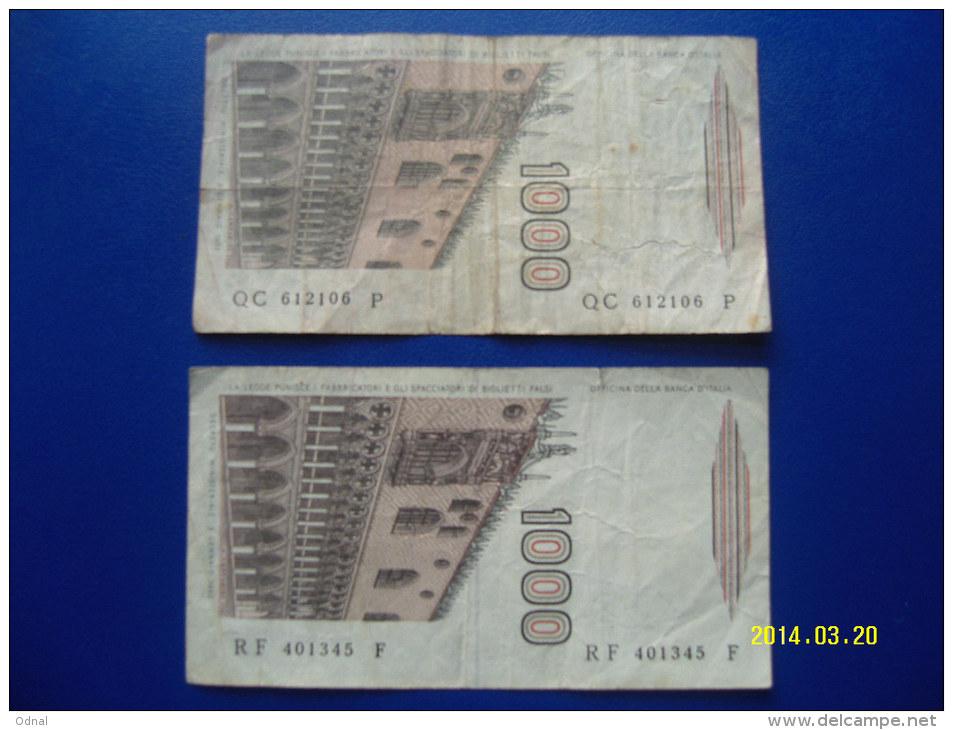 2  BANCONOTE DA 1.000 LIRE  ( MARCO  POLO ) CIRCOLATE  Lotto 1 - 1000 Lire