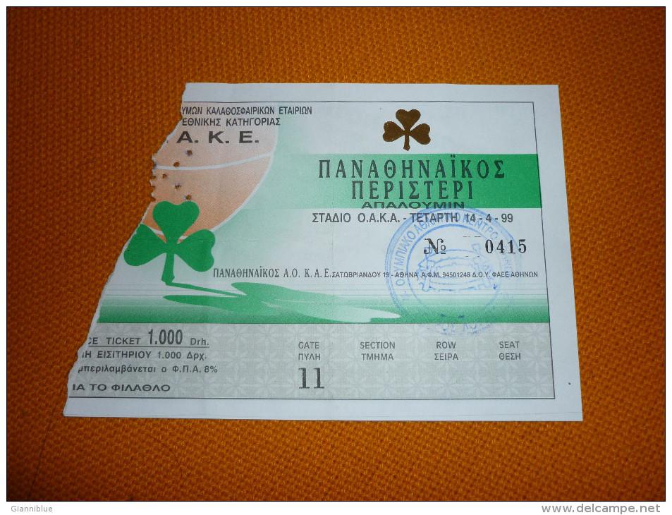 Panathinaikos-Peristeri Greek Championship Basketball Ticket 14/4/1999 - Tickets D'entrée
