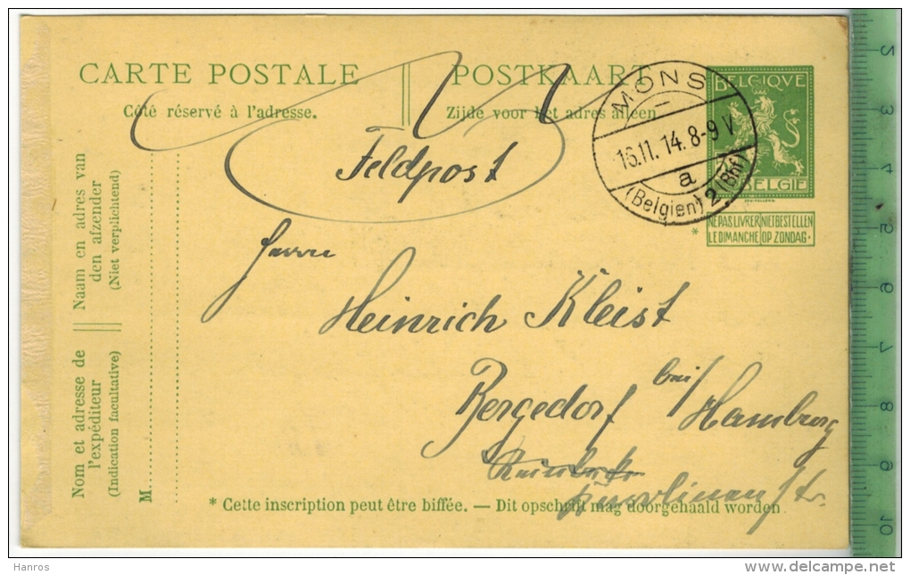 Mons, Feldpost 1. WK 1914 - Stamped Stationery