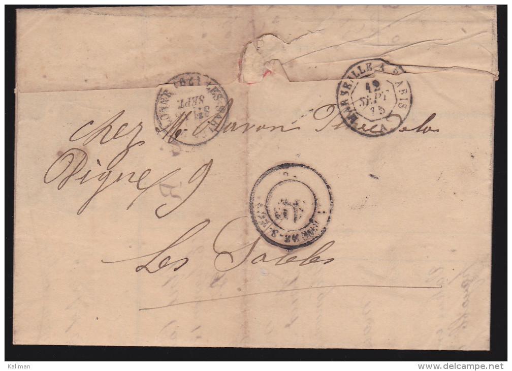 France - Lettre N° 60 Obl 1875 - Cachets: GC 3804 / Saint Péray  / Marseille A Paris A / Les Sables D'olonne - 1849-1876: Klassik