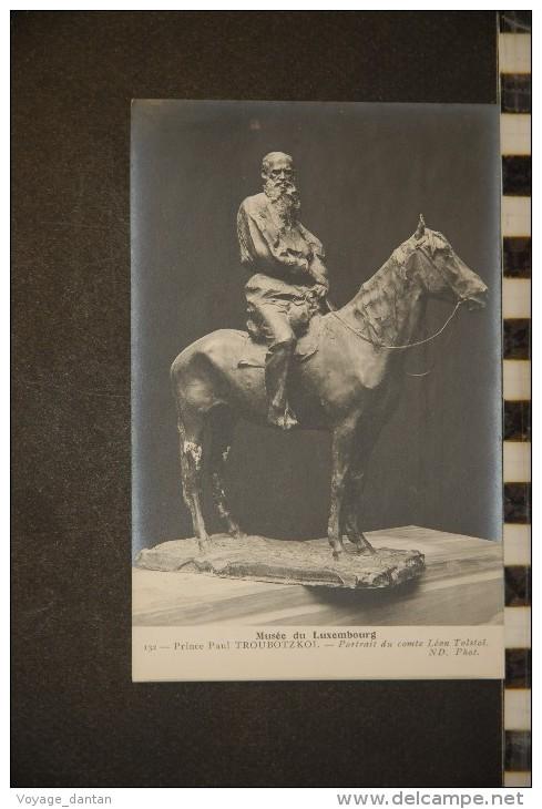 CP, Arts, Sculpture, Musée Du Luxembourg Prince Paul TROUBOTZKOI Portrait Du Comte Leon Tolstoi N°32 ND - Sculptures