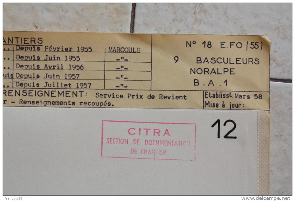 Fiche Technique CITRA Avec Photo Et Plan D'un Basculeur Noraple B.A.I En 1958 à Marcoule - Voir SCANS - Machines