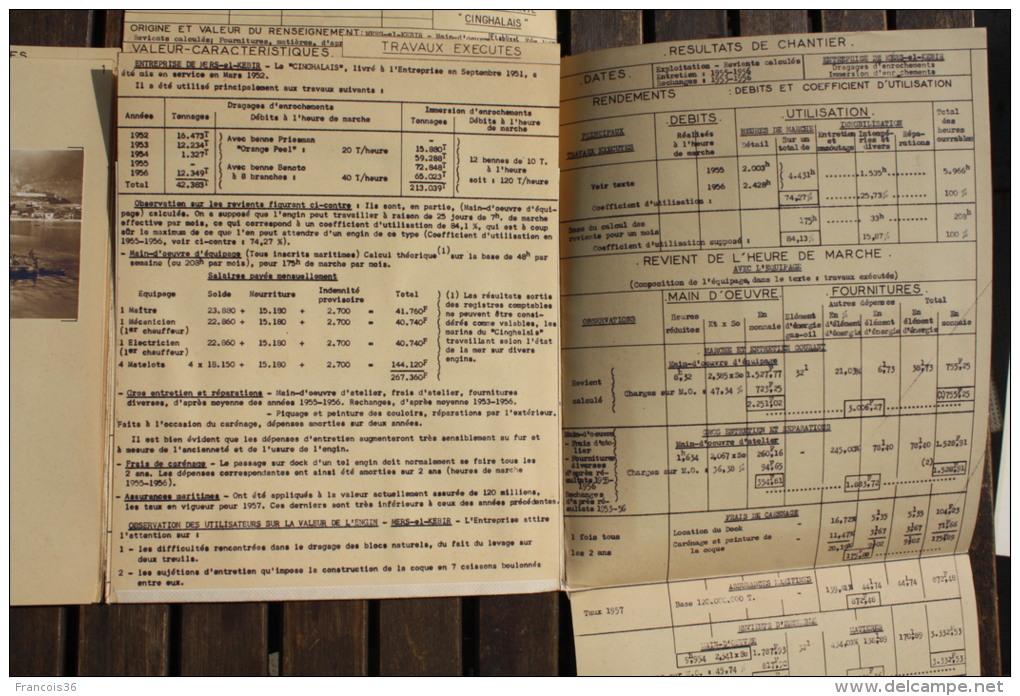 Fiche Technique CITRA 6 Photos Et Plan GRUE FLOTTANTE CINGHALAIS - Chantier Mers El Kebir 1957 Algérie Poste De Commande - Machines