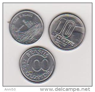 3 Münzen Von Brasilien, 1, 10 Centavo,1975,1990, 100 Cruzeiros 1992, Vzgl.,ansehen - Brasilien