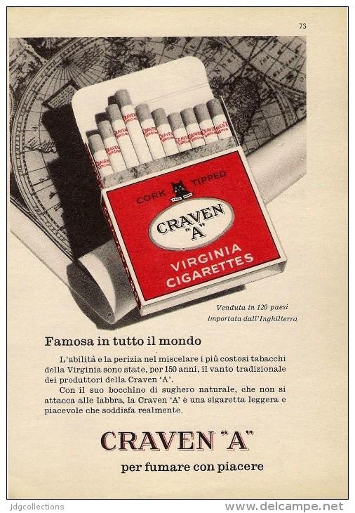 # CRAVEN A CIGARETTES U.K. ENGLAND 1950s Advert Pubblicità Publicitè Reklame Sigarette Cigarrillos Zigaretten Tabak - Around Cigarettes