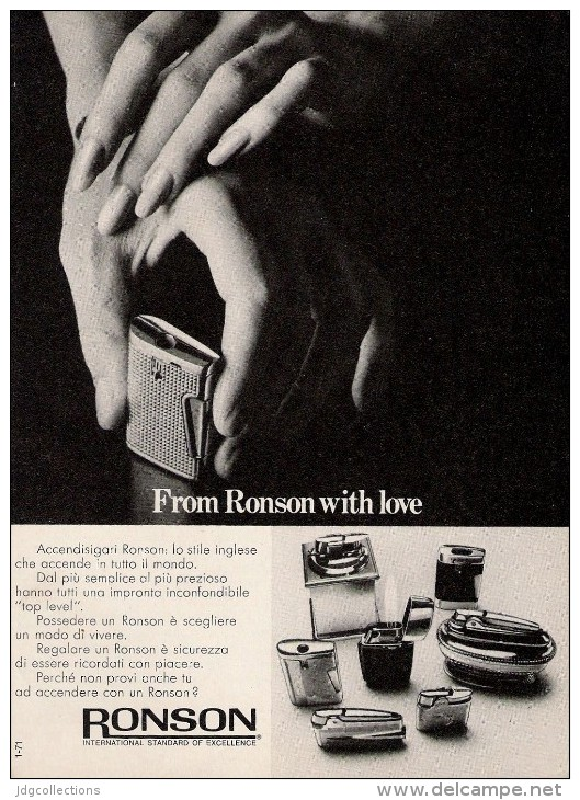 #  RONSON LIGHTERS U.K. 1960s Advert Pubblicità Publicitè Reklame Sigarette Cigarrillos Zigaretten Tabak Accendini - Unclassified