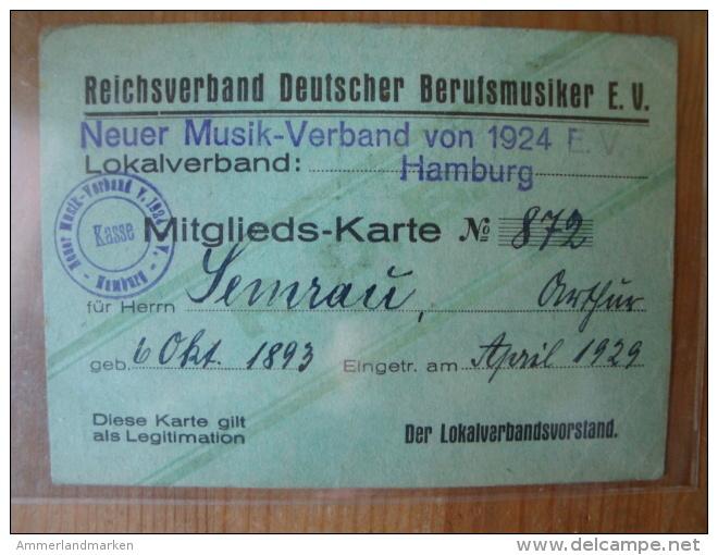Mitglieds-Karte Reichsverband Deutscher Berufsmusiker E.V. Hamburg, 1929 ! - Varia
