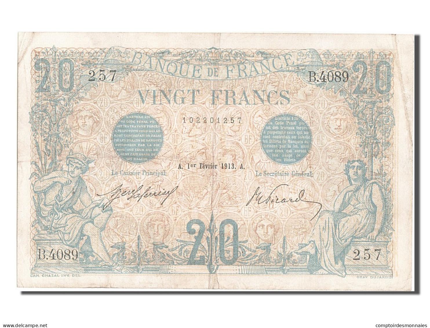 [#203159] 20 Francs Bleu, 01 Février 1913, Fayette 10.3 - 1871-1952 Circulated During XXth