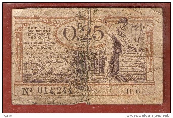 BON CHAMBRE DE COMMERCE Du Nord & Pas De Calais ( 5x7,5cm)   0f.25 - 25 Centimes (valables Jusqu´au 31/12/1925 ) - Cámara De Comercio