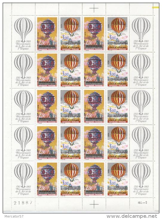 FRANCE Feuille Complète 2261/62 Bicentenaire De L'Air Et De L'Espace Montgolfières - Feuilles Complètes
