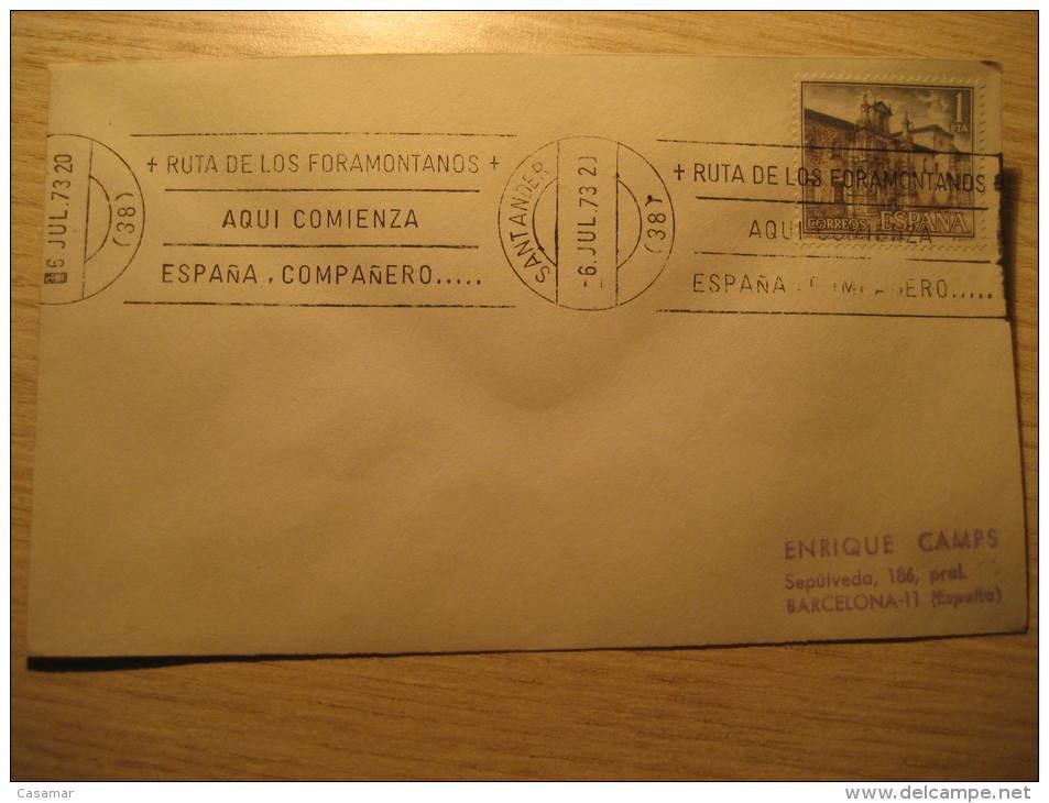 SANTANDER 1973 Ruta De Los Foramontanos CANTABRIA Cancel Cover SPAIN España - 1971-80 Lettres