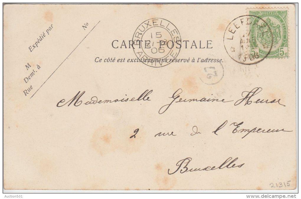 """21315g ESTAMINET - PLACE COMMUNALE - """"Leefdael - 1906 - Alveringem"""