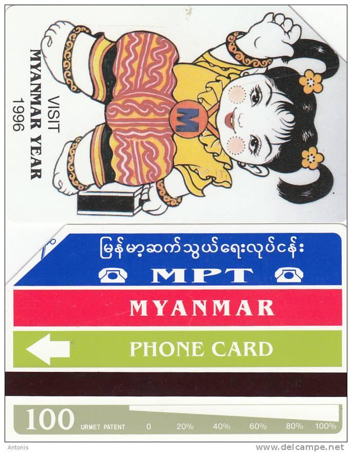 MYANMAR - Visit Myanmar Year 1996(reverse A-100 Units), Used - Myanmar