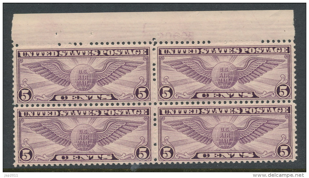 USA 1930 Air Mail Scott # C 12. Winged Globe, Block Of 4 With P#. MNH (**) - Air Mail