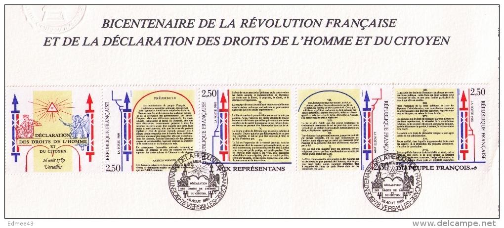 Document Philatélique Premier Jour, Bicentenaire Révolution Française Et Déclaration Des Droits De L´Homme, 1989 - Franz. Revolution