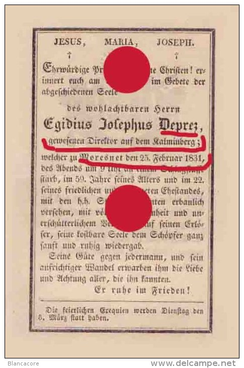 MORESNET 1831 DEPREZ DIRECTEUR DE LA MINE TRES RARE - Obituary Notices