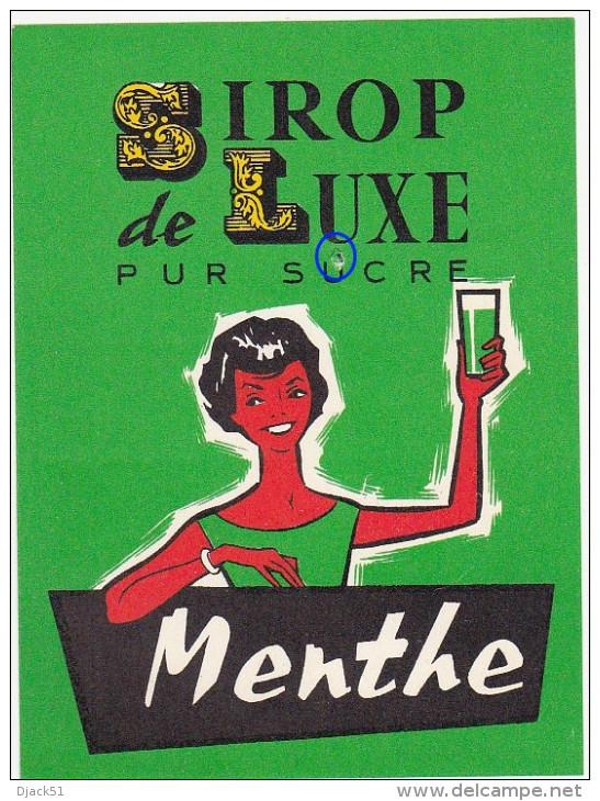 Ancienne Etiquette SIROP De LUXE PUR SUCRE - Menthe - Fruits & Vegetables