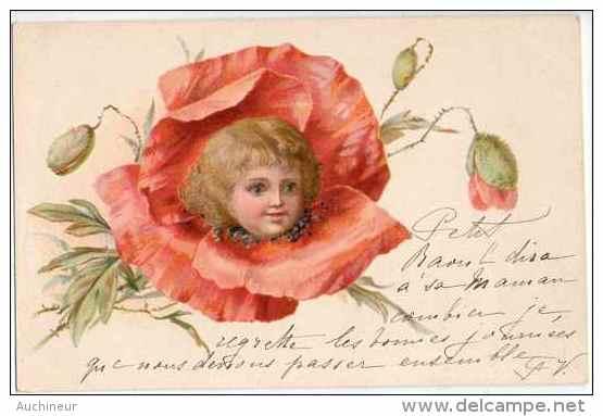 Fleurs Pavot Coquelicot - Tête D'enfant Dans La Fleur (vers 1900 - Non Classés