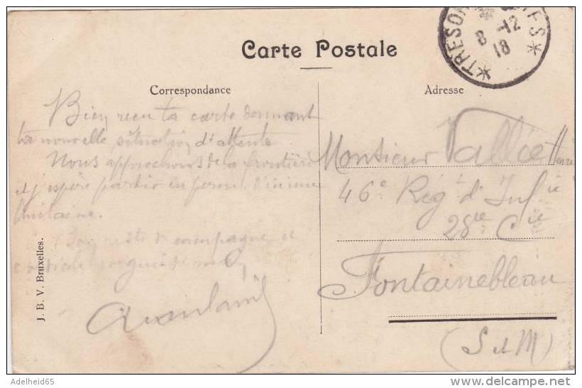 CPU9/ Ed. JBV Bruxelles, Sainte Gudule 1918 Trésorerie Poster France (poste De Guerre) Pour 46 Reg Inf à Fontainebleau - Monuments, édifices
