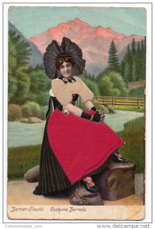 Silk Berner Fracht Costume Bernois Suisse Ca1900 Vintage Original Postcard Cpa Ak (W3_3292) - Sonstige