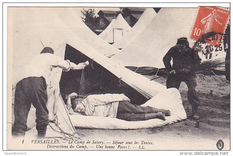23516 Versailles France - Camp Satory Sejour Sous Tente, Distraction Bonne Farce -1 LL-correspondance Guerre 1914 - Régiments