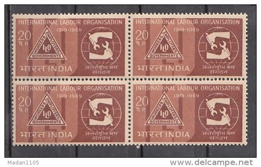 INDIA, 1969,  ILO, International Labour Organization, Job, Spanner, Globe, Block Of 4,    MNH, (**) - Nuovi